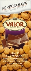 "Valor Spanish Chocolate - Milk Chocolate with Almonds ""No Sugar Added"", 150g/5.29oz (Single)"