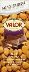 "Valor Spanish Chocolate - Milk Chocolate with Almonds ""No Sugar Added"", 150g/5.29oz. (14 Pack)"
