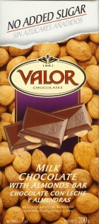 "Valor Spanish Chocolate - Milk Chocolate with Almonds ""No Sugar Added"", 150g/5.29oz  (5 Pack)"