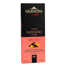 "Valrhona Chocolate - ""Manjari Orange"", Dark Chocolate, 64% Cocoa, 85g/2.99oz. (5 Pack)"