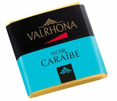 Valrhona French Chocolate - Bulk Squares Caraibe 66% Cocoa, 12ct/bg.(Single)