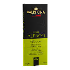 "Valrhona French Chocolate - Dark Chocolate ""Alpaco"" 66% Cocoa Bar, 70g/2.46oz.(Single)"