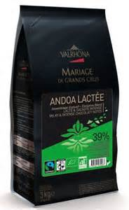 "Valrhona French Chocolate - ""Les Feves"" Andoa Lactee 39% Cocoa, 3kg feves Repackaged"