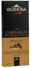 Valrhona French Chocolate - Milk Chocolate with hints of Caramel and Crunchy Pearls Lait Caramelia 36% Cocoa Bar, 5 Bar Case