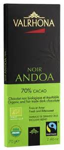 Valrhona French Chocolate - Organic and Fair Trade Dark Chocolate Noir Andoa 70% Cocoa Bar, 70g/2.46oz.