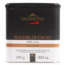 "Valrhona French Chocolate - Unsweetened ""Dutch Processed"" 100% Cocoa, 250g/8.82oz.  (Single)"