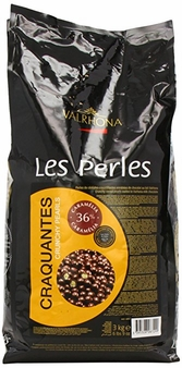 "Valrhona ""Les Perles Craquantes"" Crunchy Cereal Pearls Coated in Milk Chocolate, Caramel Flavored, 36% Cocoa, 3kg./6.6lb."