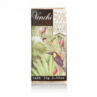 Venchi Blend Chocolate - 90% Fondente Extra Dark Chocolate 90% Cocoa, 70g/2.46oz. (5 Pack)