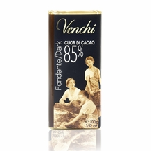 "Venchi Italian Chocolate - ""Cuor di Cacao"" Extra Bittersweet Bar, 85% Cocoa, 100g/3.5oz.(16 Pack)"