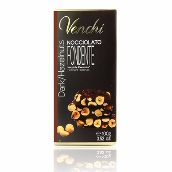 Venchi Italian Chocolate - Pure Dark Chocolate with Piedmont Hazelnuts I.G.P., 56% Cocoa, 100g/3.5oz. (Single)