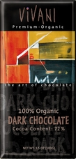 Vivani Organic Chocolate - 100% Organic Dark Chocolate with 72% Cocoa, 100g/3.5oz (Single).