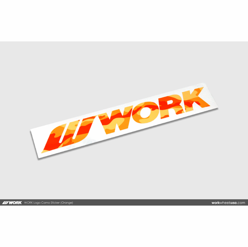 WORK Logo Camo Sticker (Orange)