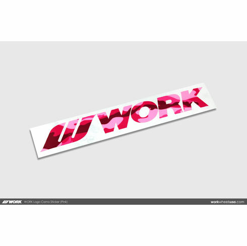 WORK Logo Camo Sticker (Pink)