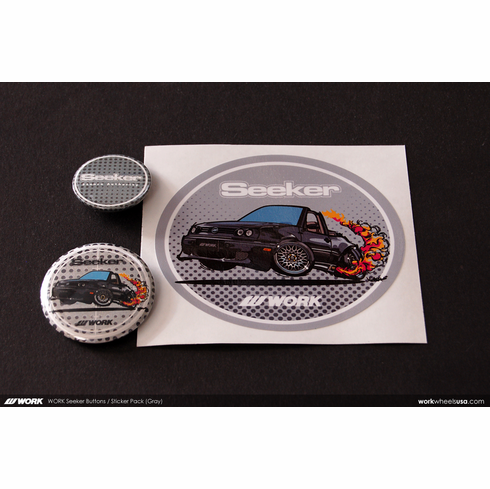 WORK Seeker Button & Sticker Pack (Gray)