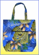 Aloha Tote Bag w/Top Zipper - 502Navy