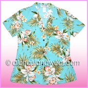 Rayon Hawaiian Lady Blouse - 824Aqua