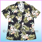 Rayon Hawaiian Lady Blouse - 824Black