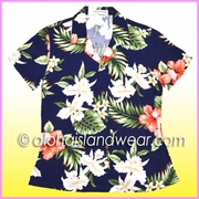 Rayon Hawaiian Lady Blouse - 25Navy