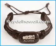 Aloha Tiki Genuine Leather Bracelet - Brown