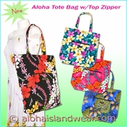 Aloha Tote Bag w/Top Zipper
