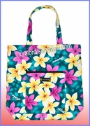 Aloha Tote Bag w/Top Zipper - 901Teal