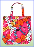 Aloha Tote Bag w/Top Zipper - 906Pink
