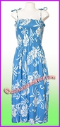 Full Length Hawaiian Smock Dress - 486Blue