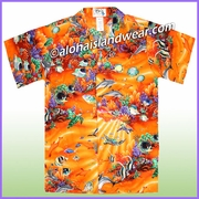 Boy Hawaiian Shirt - 411Orange