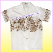 Boy Hawaiian Shirt - 412White/Brown