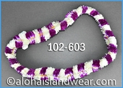 Christina Hawaiian Double Lei - White/Lavender