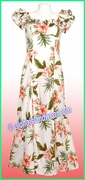 Classic Aloha Dress - 403White/Pink-flowers