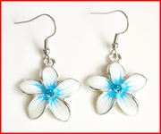 Crystal CZ Glass Plumeria dangle Earrings - Blue