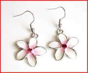 Crystal CZ Glass Plumeria dangle Earrings - Pink