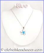 Crystal CZ Glass Plumeria Necklace - Blue