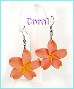 Fimo Flower Dangle Earrings - Coral