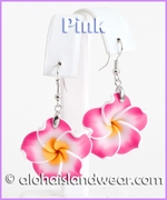 Fimo Plumeria Dangle Earrings - Pink/Yellow
