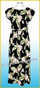 Full Length Hawaiian Luau Dress - 812Black/Pink Orchid