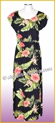 Full Length Hawaiian Luau Dress - 820Black