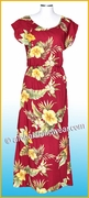 Full Length Hawaiian Luau Dress - 820Red