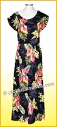 Full Length Hawaiian Luau Dress - 821Black