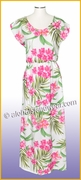 Full Length Hawaiian Luau Dress - 822White