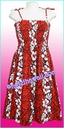 Full Length Hawaiian Smock Dress - 213Red
