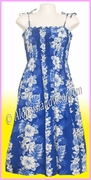 Full Length Hawaiian Smock Dress - 4340Navy