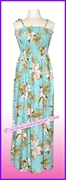 Full Length Hawaiian Smock Dress - 824Aqua