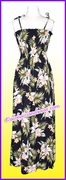 Full Length Hawaiian Smock Dress - 824Black