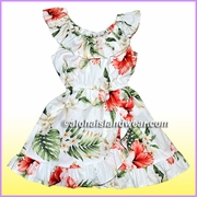 Girl Aloha Dress - 466White