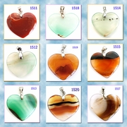Hart-Shaped Agate Stone Pendants