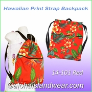 Hawaiian Print Straps Backpack -101Red