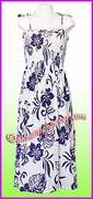 Full Length Hawaiian Smock Dress - 486White/Navy