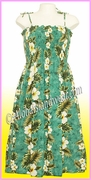 Full Length Hawaiian Smock Dress -  449Green